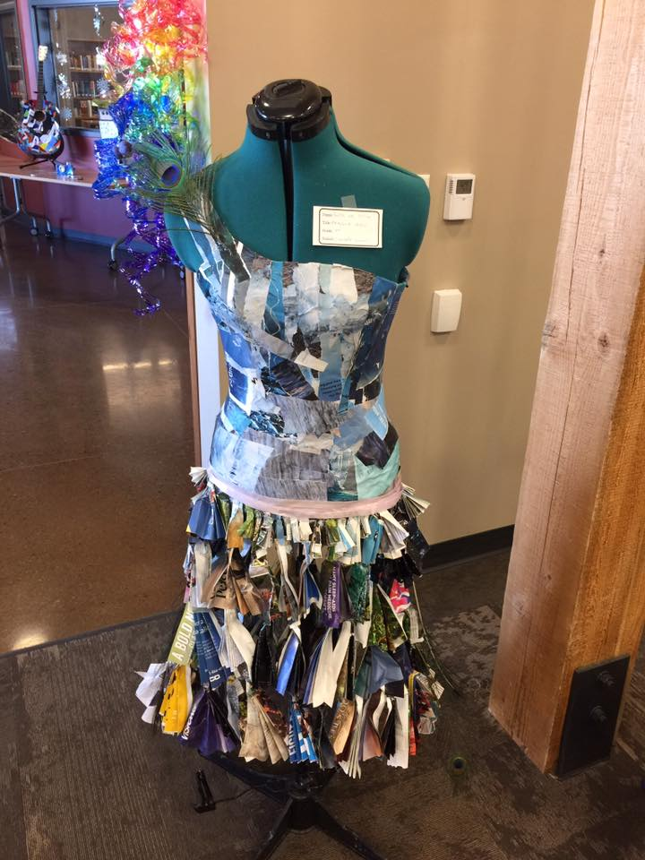 PEACOCK DRESS by Sophia and Tessa 7th graders from Creede Middle School